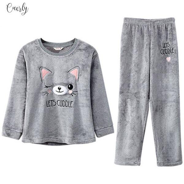 2Piece Suit Donne Warm ricamo Cat Pajamas inverno spesso flanella Stitch Homewear 2019 Top Homewear vestiti larghi Full Size