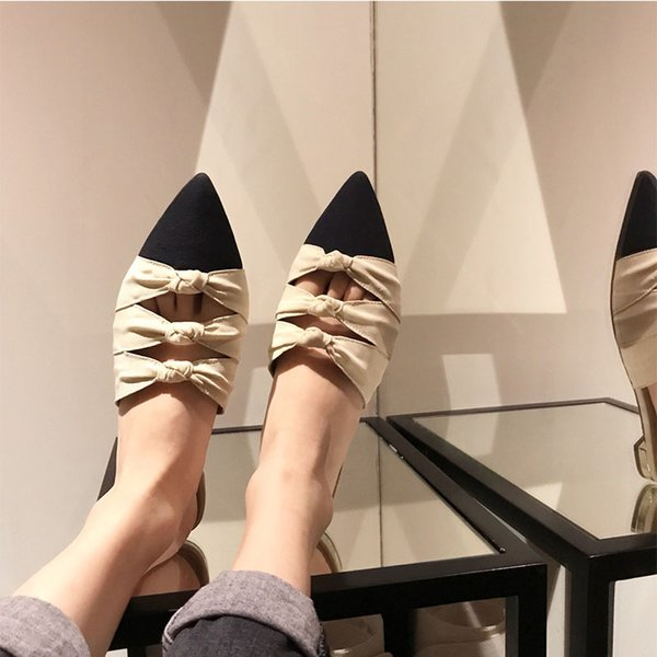 Perfect Official Quality Shoes Aquazzura 2019 New Release Catwalk Pineapple Color Matching Pointed-toe Flats Bow Slippers