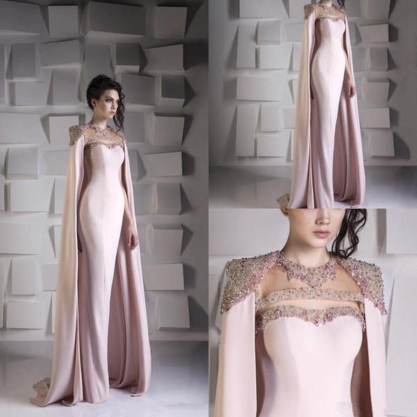 Dettagliata abiti da sera a sirena con perlina di cristallo di paillettes vestito da ballo in raso con paillettes Abiti da festa Jewel Plus Size Arabo Dubai Wrap Gowns