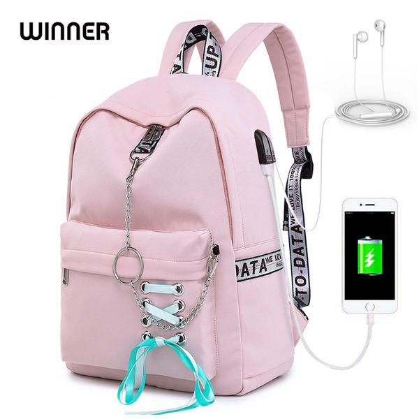 Winner Fashion Waterproof Women Backpack Anello Travel Knapsack Usb Charging Ribbon College Girls Bookbags Cute Bagpack Rugtas Y19061102