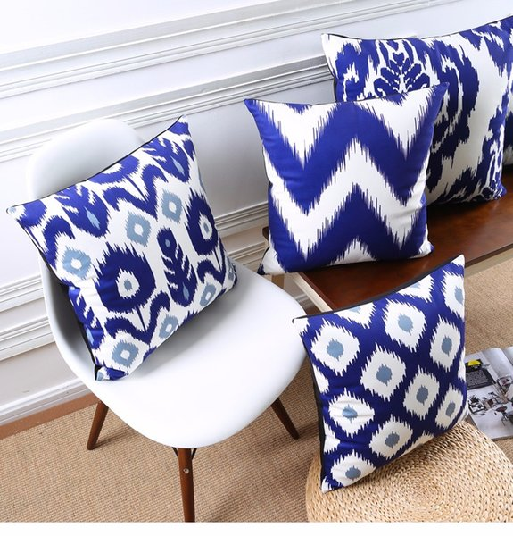 Abstract Geometric Chevron Stripe Floral Cushion Covers Nordic Blue Tone Art Pillow Cover Sofa Decorative Velvet Pillow Case