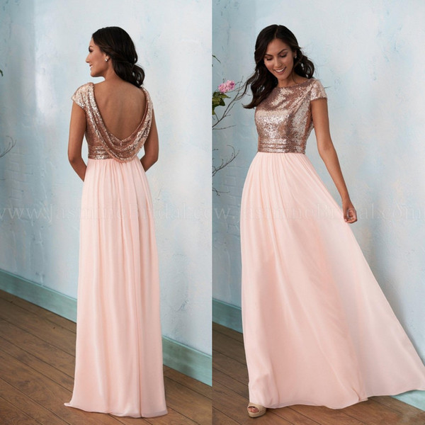 Rose Gold Bridesmaids Dress 2019 Prom Dresses Boat Neckline A Line Long Cap Sleeve Sequin Floor Length Poly Chiffon Bridesmaids Dress BC1539