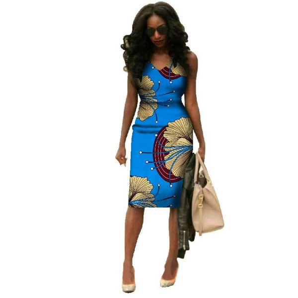 2019 African Dresses For Women Summer African Clothes Dashiki Plus Size African Wax Print Dresses Bazin Riche Africa Dresses J190511