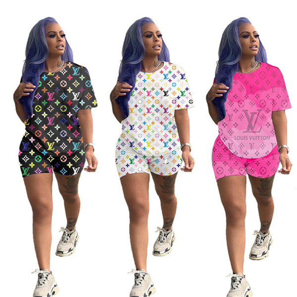 best selling Women Designer Tracksuit T-shirt+Shorts Two Piece Sets Short Sleeve Sweatsuit Outfits Short Pants Slim Pants Clothing Selling DHL1058