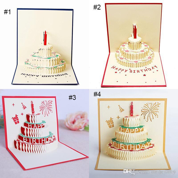 3D card birthday cake 3D Pop UP Gift & Greeting Blessing Cards Handmade paper silhoue & Creative Happy christmas cards