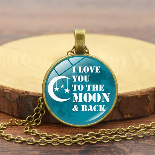 2019 New Creative Necklace I Love You to the Moon and Back Time Gemstone Necklace Vintage Alloy Glass Pendant