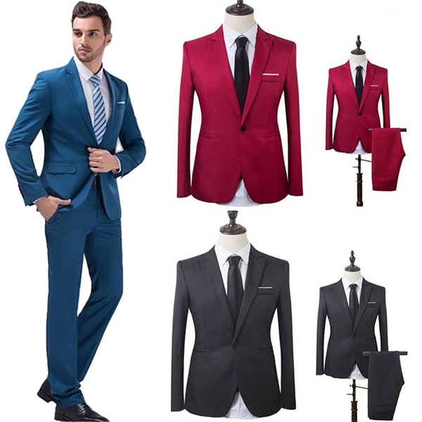 Men Wedding Suit Male Blazers Slim Fit Suits For Men Costume Business Formal Party Formal Work Wear Suits (Jacket+Pants)#264163