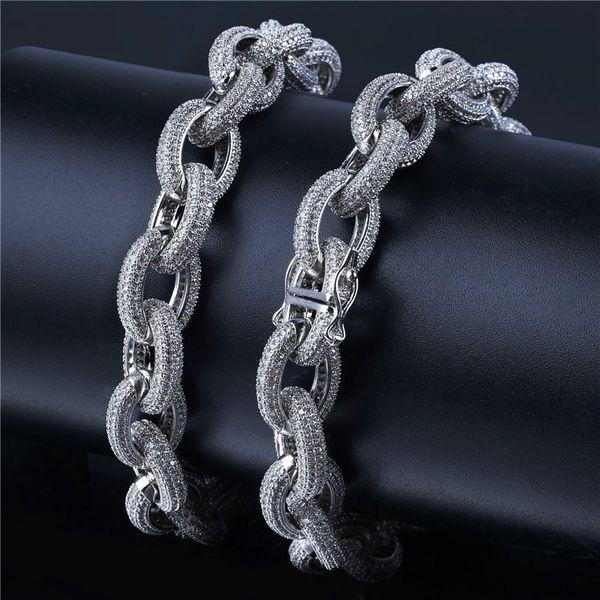 Mens CZ Twisted Chain Armband Hiphop Schmuck Luxus Gold Silber überzogene Ketten voller Diamanten Zirkon Armreif Großhandel