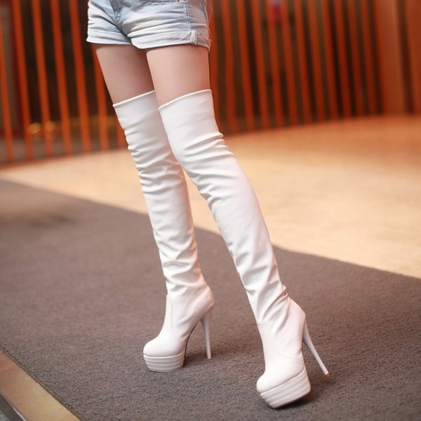 2019newpuhigh tube women's boots pedicure over the knee boots high heel knight pole dance bootsthigh highboots, Black