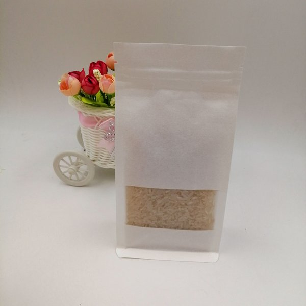 50pcs/lot White Kraft Paper Bag For Gifts Christmas Food Tea Candy Zip Lock Kraft Paper Bag With Window Stand Pouch Zipper Bags