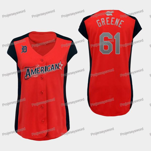 Femmes Detroit 61 Shane Greene Maillot Tigers de la Ligue Américaine Shane Greene 100% Stitched Allstar Baseball Jerseys Red