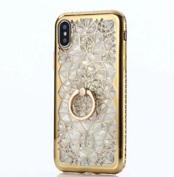 Per iPhone X Custodia Cover posteriore in silicone TPU di lusso con diamante Bling 3D per iPhone X XS