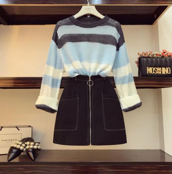 Fall Women's Sweatsuit New Loose Stripe Thin Sweater + High Waist Slim Skirts Two-piece Mini Skirts Set Femme Student Outfits