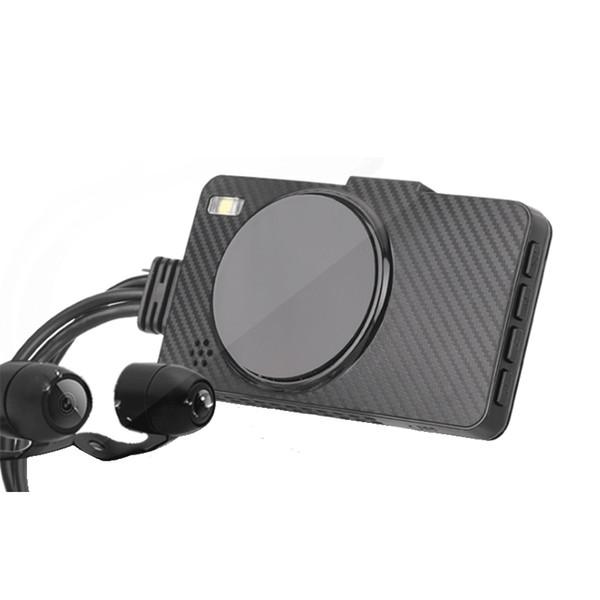 3 inçlik motosiklet sürüş kaydedici DVR çift objektif HD 1080p döngü video kaydedici kamera