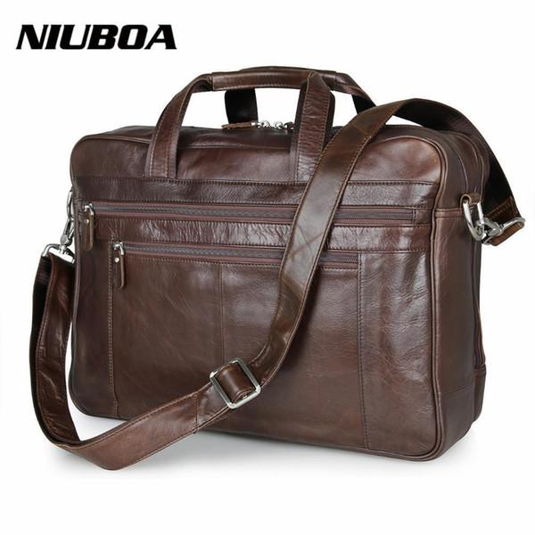21fd12c1d7ca Niuboa 100% Genuine Leather Shoulder Bag High Quality Men Briefcase Handbag  Euro Cowhide Business Messenger Bags 17 Laptop Bags Ladies Handbags ...