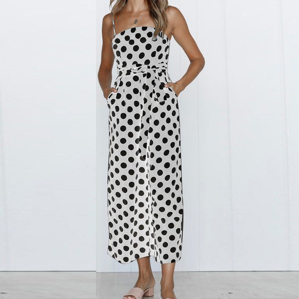 5 Kinds Color chiffon Beach Jumpsuits Women Casual Summer Sleeveless Sling Polka dot Print Long Jumpsuit With Sashes 703