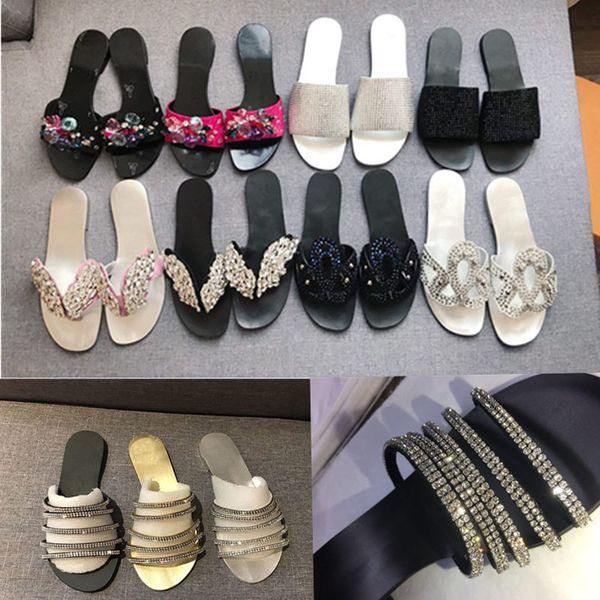 Designer de luxo de cristal de fundo plano rebite sandálias das mulheres e chinelos high-end personalizado importado checo marca corrente de diamantes
