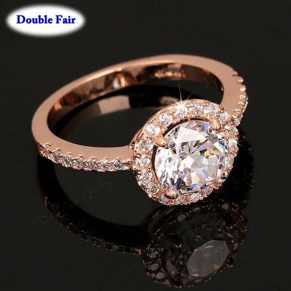 Fingerring Zirkonia Hochzeit / Verlobung Rose Gold Farbe Österreichischen Kristall Fingerring Für Frauen Modemarke Schmuck DWR319