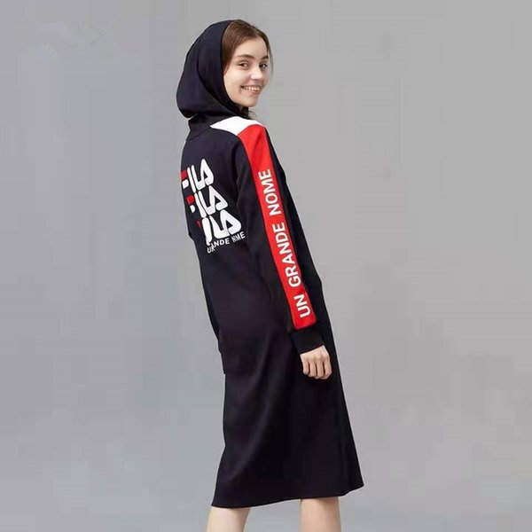 Mujeres V collar caliente vestidos de algodón de manga larga sudaderas con capucha vestido de la manera Hit sport del color que basa primavera ropa otoño por las nuevas mujeres
