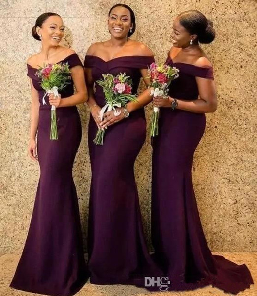 2019 Regency Off The Shoulder Satin Long Bridesmaid Dresses Ruched Sweep Train Wedding Guest Maid Of Honor Dresses BC1288