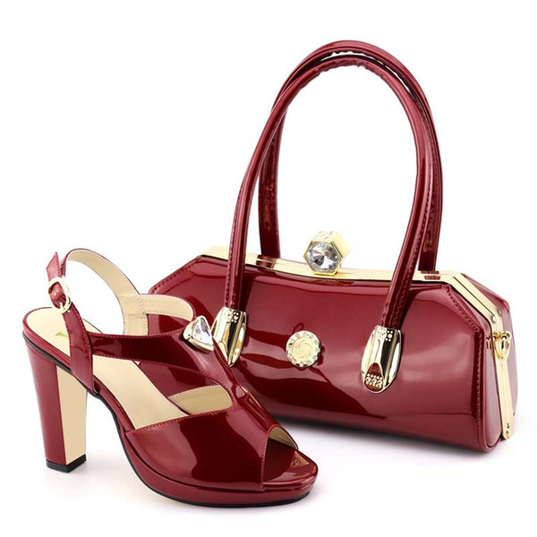 2019 Wine Red Color African Matching Shoes and Bags Italian Women Ladies Italian Shoes and Handbag Set Decorated with Rhinestone