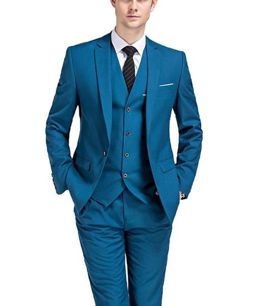 Best-selling Wedding Men's Suit 3 Pieces (jacket + pants + vest + tie) Lapel Groom Tuxedo Custom Blazer ZQ
