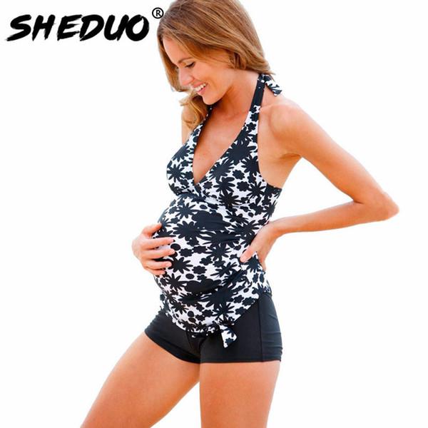 Pregnant Swimwear Print Bathing Suit Plus Size Maternity Tankini Set Swimsuit Women Swimwear Suit Two-piece Swimming Suit Y19072901