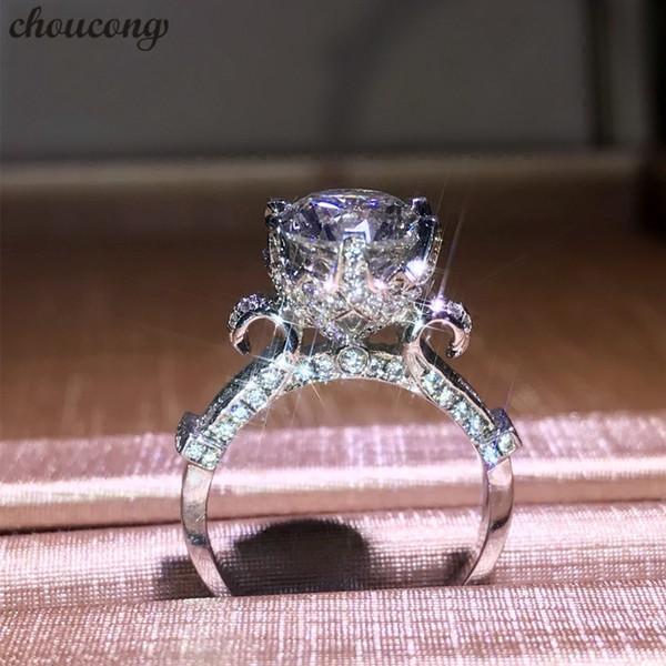 Vecalon Заявление Корона кольцо Стерлингового Серебра 925 пробы Cct Обручальные кольца для женщин, мужчин Партия Ювелирные Изделия Палец