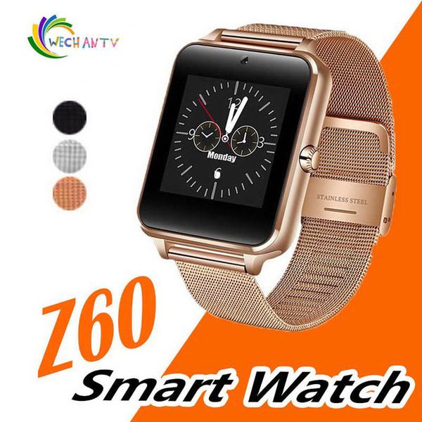 Bluetooth smart watch telefon z60 paslanmaz çelik destek sim tf kart kamera spor izci ios android için gt08 dz09 a1 v8 smartwatch