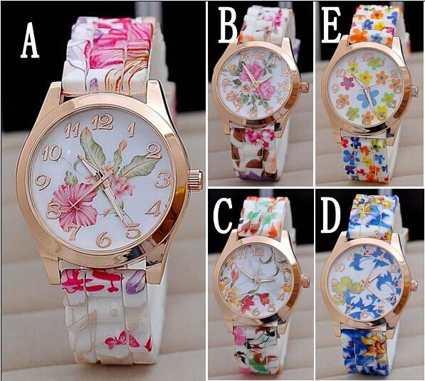 Hot Silicon Strap Beautiful Rose Flower Blue and white porcelain Super Design Geneva Wrist Watch for Wome students Girls BB