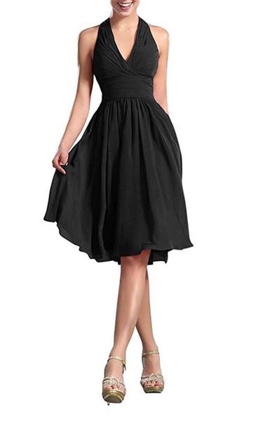 2019 линия платья невесты Холтер декольте шифон лето длина до колен невесты вечерние платья выпускного вечера с оборками