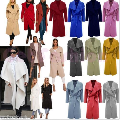 DE Damen Lange Duster Jacke Damen Französisch Gürtel Trenchcoat Wasserfall Neu
