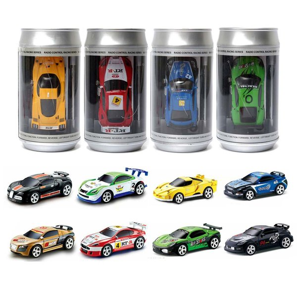 8 Colours Mini 27/40MHZ Coke Can Remote Radio Control Micro Racing RC Car Racing Car 4 Frequencies Toy For Kids Gifts RC Models