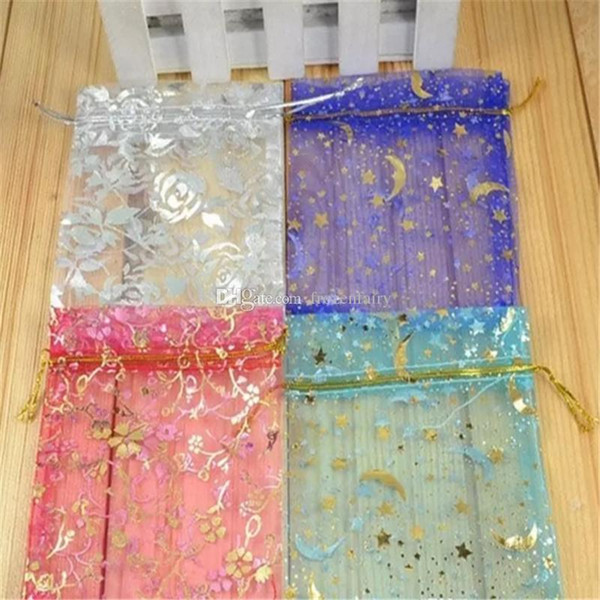 Hot Selling Organza Jewelry Gift Pouch Bags with Drawstring Wholesale Mix Colors Printed Satin Package for Candy Necklace Earrings aa574-581