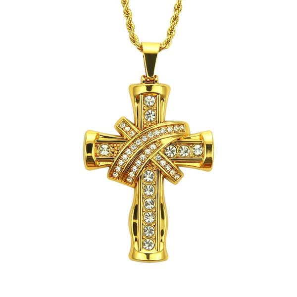 Cool Crystal Three-dimensional Cross Gold Pendant Alloy Metal Chain Men Neckalce European America 2019 Hiphop Men Jewelry