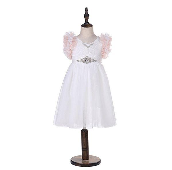 Ragazze pizzo ricamo vestito bambini tiered volant volant vestito da principessa bambini strass cintura pizzo tulle vestito da partito della ragazza abiti F3899