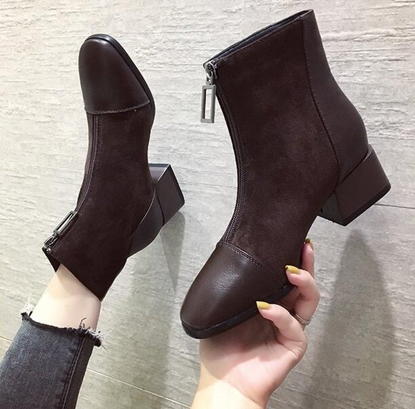New Season Designer Suede Martin Boots Chunky Heel Lady Ankle Boots Sequined Zip Square Toe EUR Fashion Luxury Women Fashion Boots Ankle Boot High