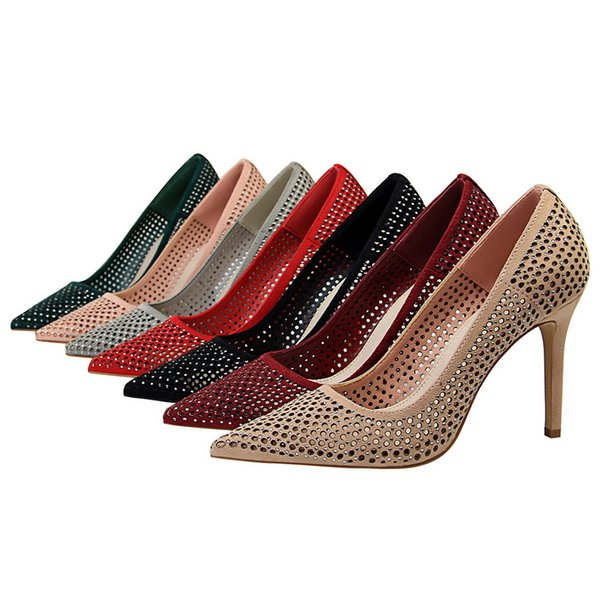 iMaySon 2019 New Arrival Womens Crystal Hollow Out Pumps Sexy Party Evening High Heels Girl Lady Single Thin Simple Heeled Fashion Shoes