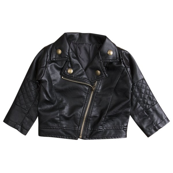 New Kids Girl Clothes Fashion PU Leather Jacket Biker Coat Autumn Clothing Overcoat Tops Black New