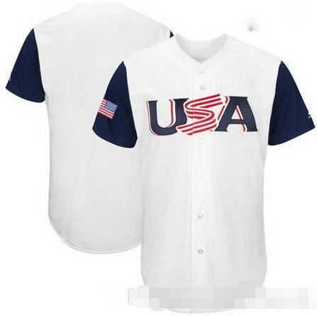 Yeni Erkekler ABD Kanada Dominik Cumhuriyeti Porto Riko Meksika Venezuella Küba Beyzbol 2017 Dünya Beyzbol Klasik Custom Takım Jersey