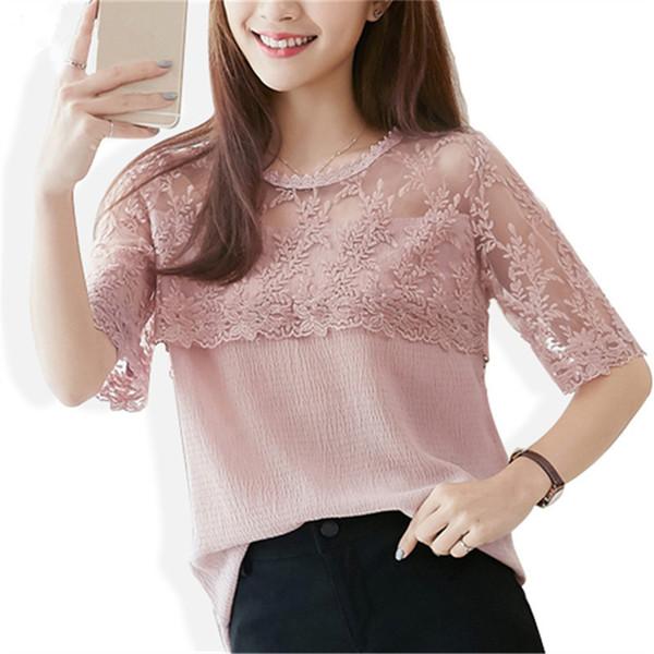 Шифон лето блузка женщины кружево рубашка сексуальный половина рукав женщин топы свободного покроя элегантный женщины блузы рубашка одежда blusa 676f 30