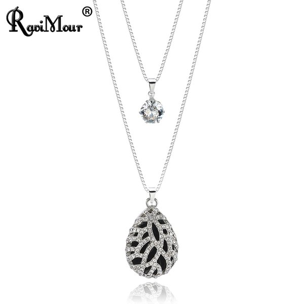 ravimour long necklaces chain sweater hollow leaf black water drop pendant necklace women fashion jewelry vintage layered collar