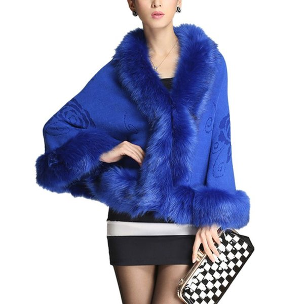 Winter Faux Fur Coat Women Ponchos And Capes Black White Red Fur Top Wedding Dress Shawl Cape Shaggy Fluffy Coat for Women