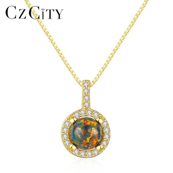 CZCITY 925 Sterling Silver Round Opal Pendentif Collier pour les Femmes Charme Chaîne En Argent Pendentif Étincelant Colliers Bijoux Cadeaux