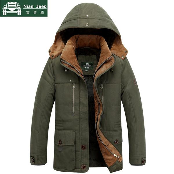 NIANJEEP Brand Thick Winter Parkas men Cotton Outwear Warm Jacket men Plus Size M-5XL Casual Multi-Pocket Parkas Hombre Invierno