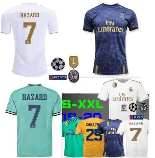 Hazard 7 Real Madrid maglia da calcio 2020 equipacion realmadrid Camisas Futebol champion league patch maillots portiere Courtois Navas