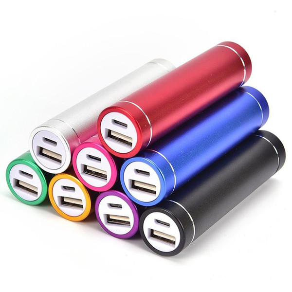 Quality Power Bank Portable 2600mAh Cylinder External Backup Battery Charger Emergency Power Pack Chargers for all Mobile Phones USB Cable