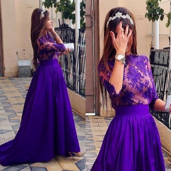Elegant Lace Long Evening Dresses Applique Jewel Half Sleeves A Line Prom Dress Sweep Train Satin Arabic Formal Gowns