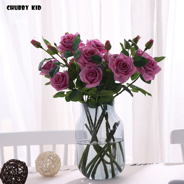 Real touch 3 heads artificial latex rose flowers High simulation wedding decorative Moisturizing feel long stem Roses bunch 6pcs