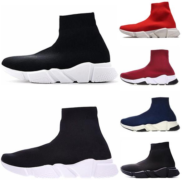 Großhandel Balenciaga Soock Speed Trainer Originals Männer Frauen Speed Trainers Luxury Brand Schwarz Weiß Rot Flache Frauen Socken Stiefel Sneakers